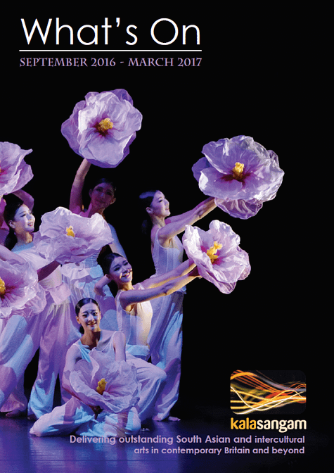 A group of east Asian women, dressed in purple, hold out fabric flowes. Text reads: Kala Sangam, What's on September  2016- March 2017