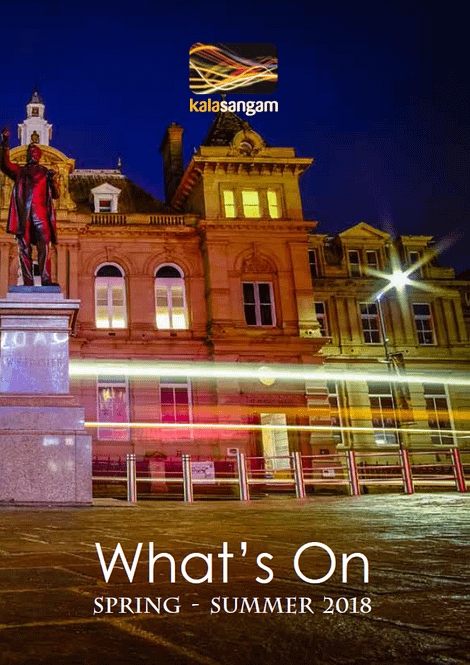 Night time photo of the Kala Sangam building with a statue of a man in the foreground. Text reads: Kala Sangam What's on Spring-Summer 2018